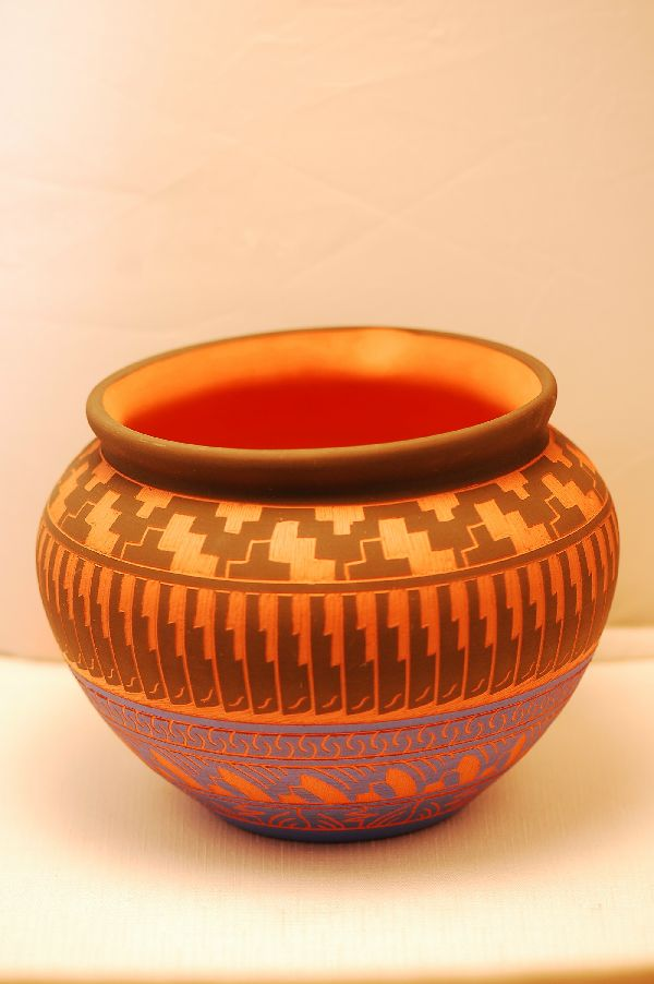 Navajo – Etched/Carved Pottery Vase by Cora Emerson