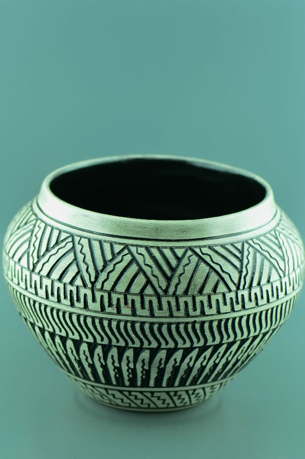 Navajo – Etched/Carved Pottery Vase by DeWayne and Heather Eskeets