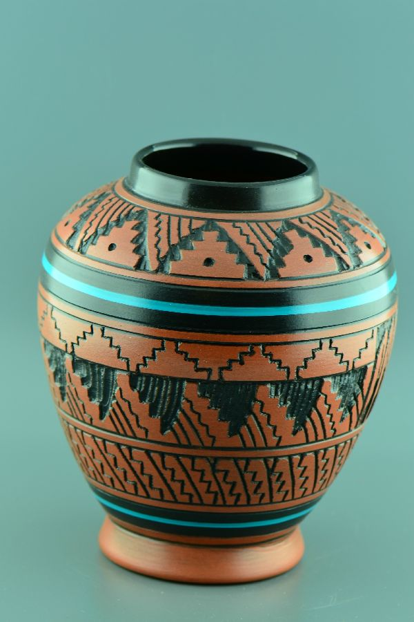 Native American Etched Pottery Vases Native American