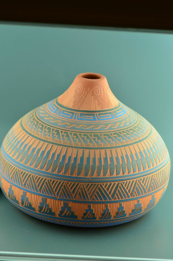 Navajo – Etched/Carved Pottery Vase by Sylvia Johnson