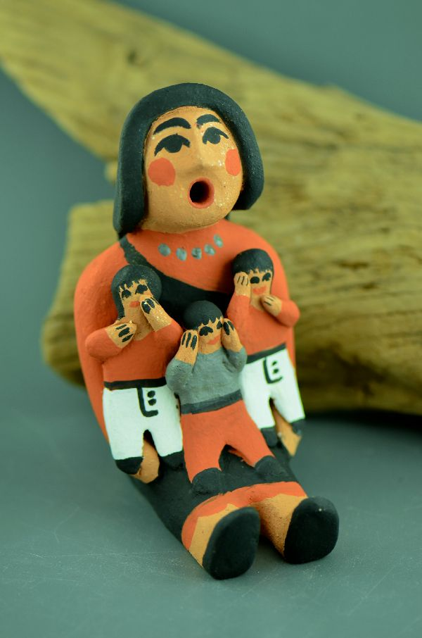 Jemez – Storyteller Doll Pottery with Three Children by Edwina Tortalita