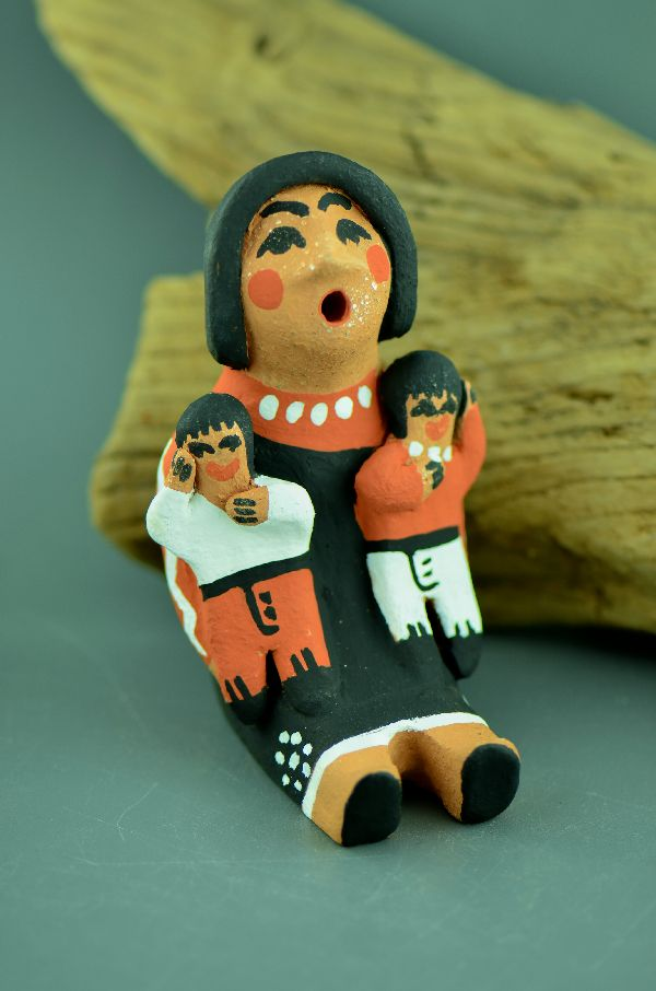 Jemez – Storyteller Doll Pottery with Two Children by Edwina Tortalita