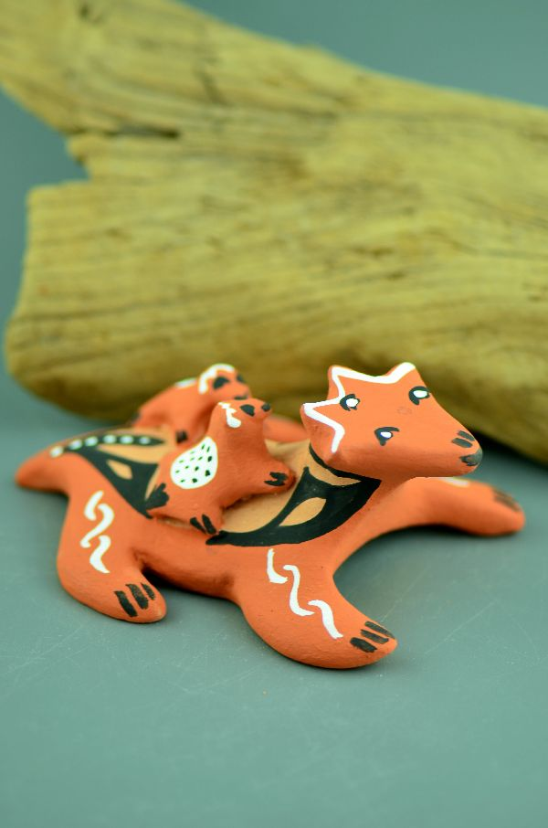 Jemez – Horny Toad Storyteller Pottery with Two Babies by Edwina Tortalita
