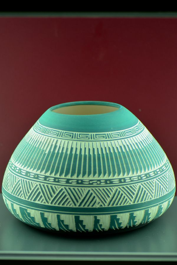 Navajo – Etched/Carved Pottery Vase by Shenniah and Gerrick Frank