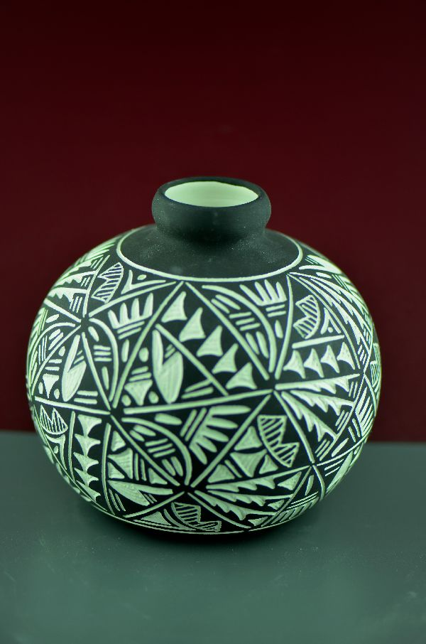 Acoma - Hand Thrown/Incised/Painted Pottery Vase by Jarvis Antonio