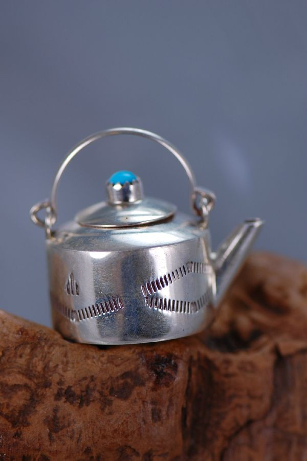 Navajo – Hand Stamped Sterling Silver Tea Kettle with Removable Lid