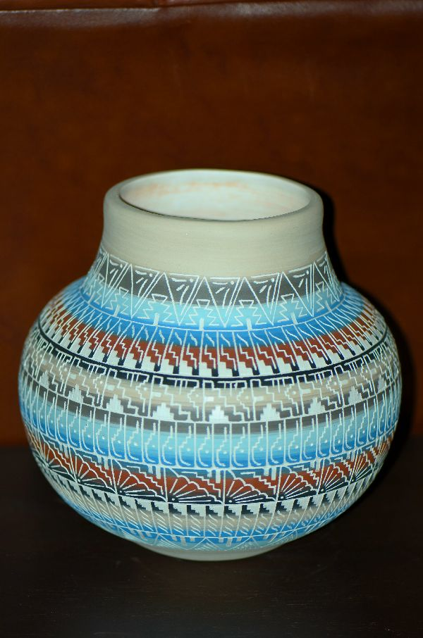 Navajo – Etched/Carved Pottery Vase by Larry Skeets