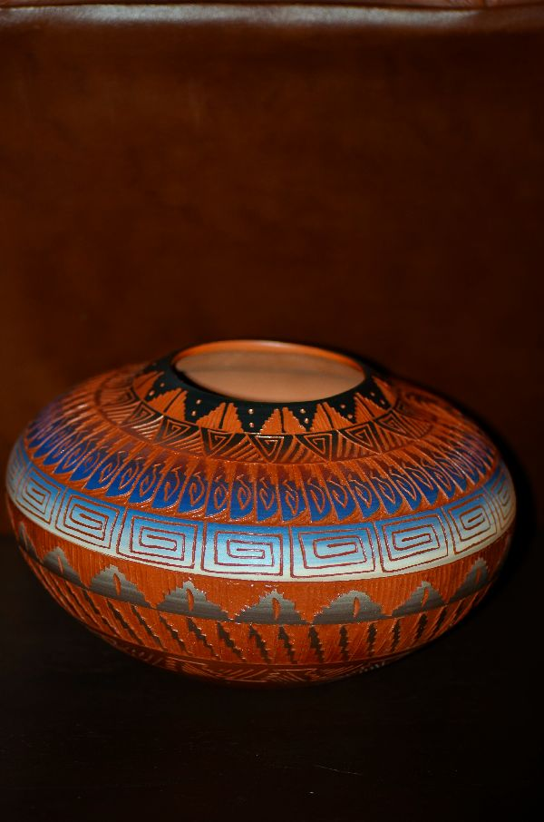 Navajo Etched/Carved Pottery Vase with Kokopelli by Marjorie Joe