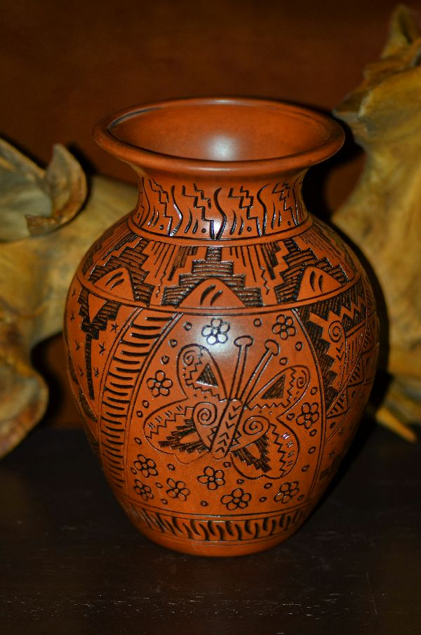 Navajo Hand Etched, Carved and Hand Painted Butterfly Pottery Vase by Leon Jay and Wanda Johnson