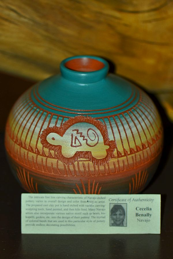 Navajo Hand Etched and Hand Painted Turtle Pottery Vase by Cecelia Benally