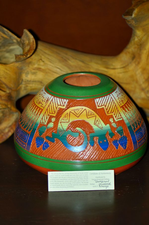 Navajo/Taos Pueblo Hand Etched, Painted and Carved Pottery Vase with Lizard by Desiree McCabe