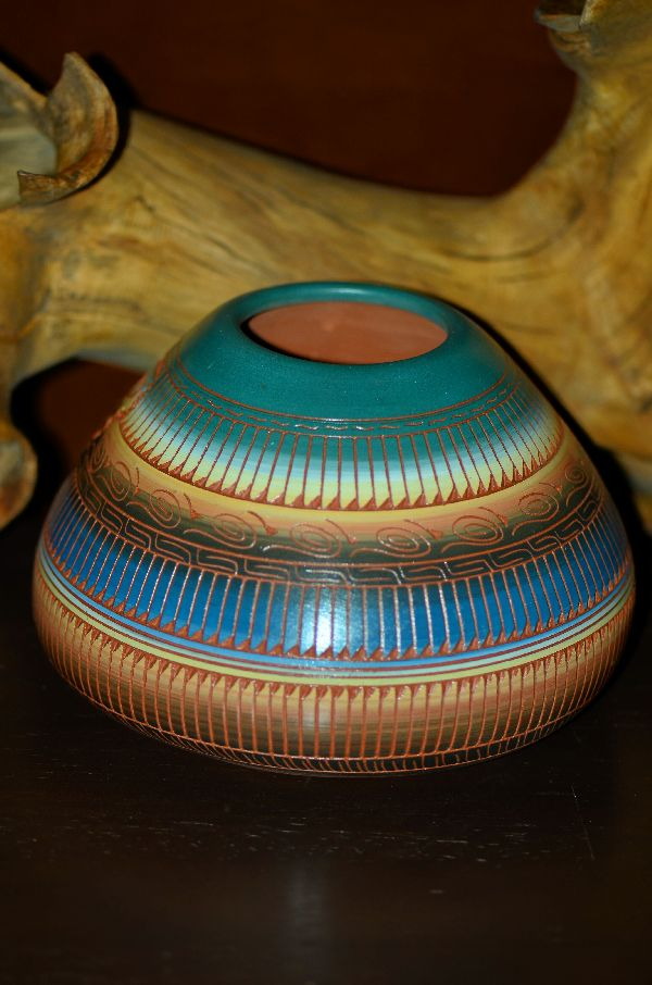 Navajo Hand Etched, Painted and Carved Pottery Vase with Butterfly by Cecelia Benally