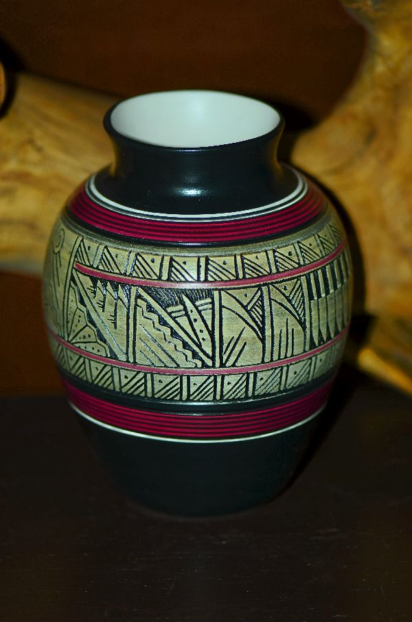 Navajo Hand Etched and Hand Painted Hummingbird Pottery Wedding Vase by Cecelia Benally