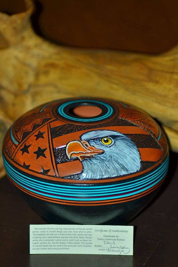 Navajo Hand Etched, Carved and Hand Painted Eagle Pottery Vase by Paul Lansing
