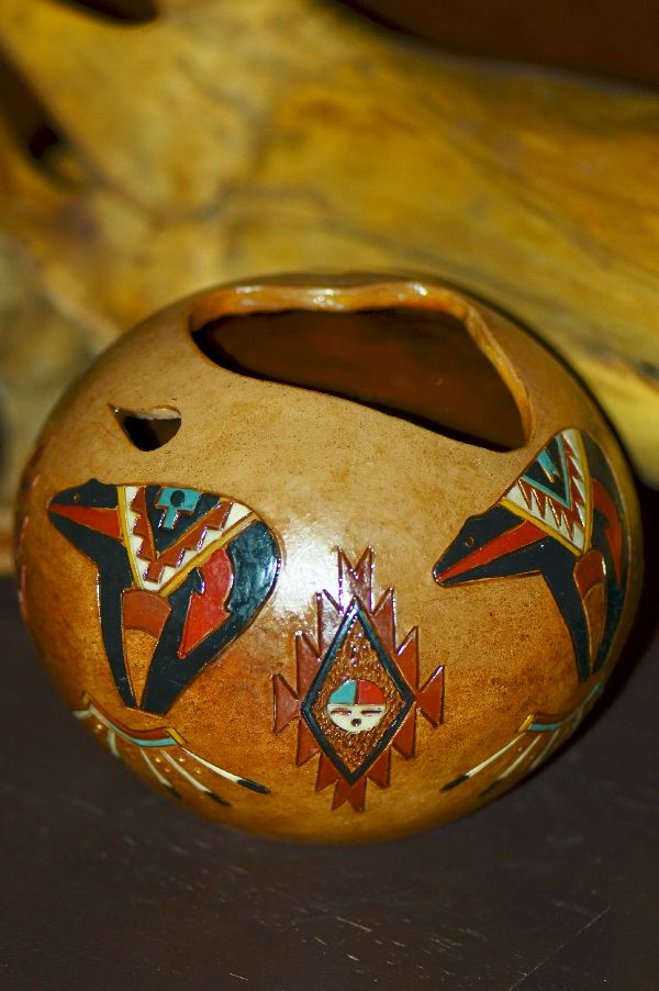 Navajo Hand Etched, Carved and Hand Painted Pottery with Bear by Marjorie Joe
