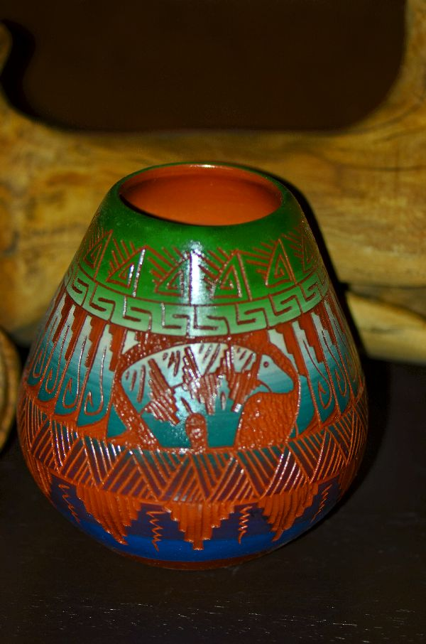 Navajo Hand Etched, Carved and Painted Pottery Vase with Bear by Izack Joe