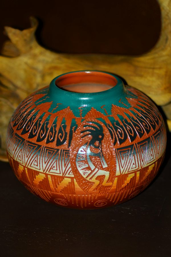 Navajo – Hand Etched, Carved and Hand Painted Pottery with Kokopelli by Marjorie Joe