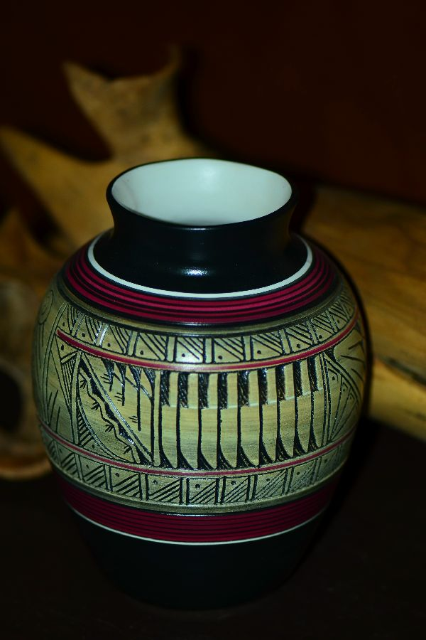 Navajo Hand Carved, Etched and Painted Buffalo Pottery Vase by Paul Lansing
