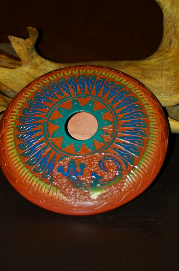 Izack Joe Navajo Hand Etched, Carved and Painted Pottery Vase with Lizard