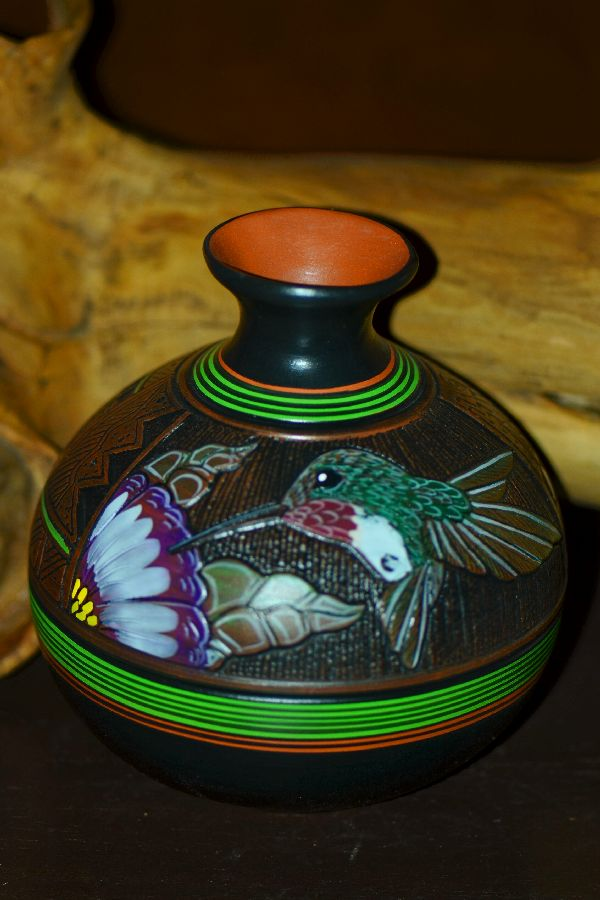Paul Lansing Hand Etched and Painted Hummingbird Pottery Vase Navajo