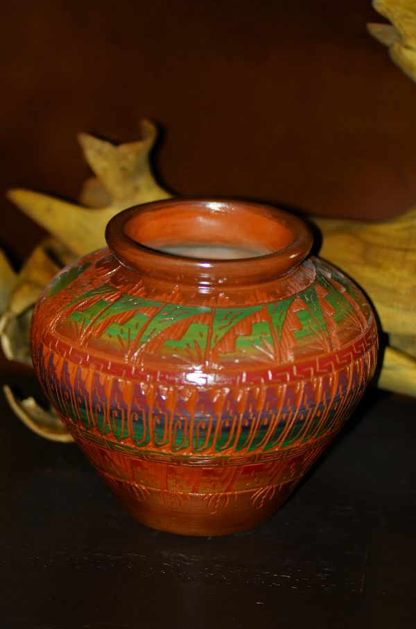 Loretta Benally Hand Painted and Incised Kokopelli Pottery Vase Navajo