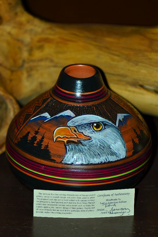 Paul Lansing Hand Painted Eagle Pottery Vase Navajo