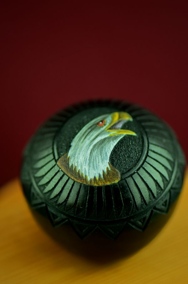 Navajo Exquisite Miniature Hand Coiled, Etched and Hand Painted Eagle Pottery Vase by Wallace Nez