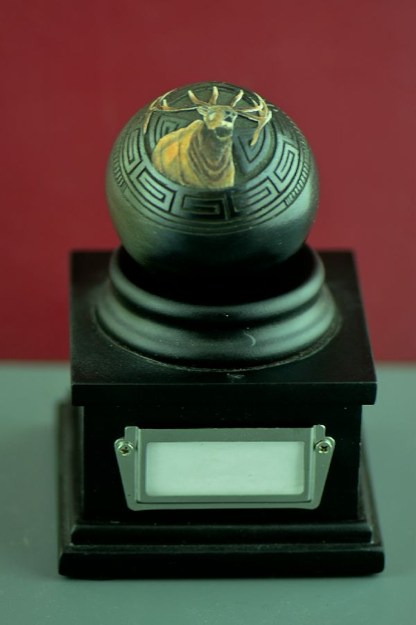 Navajo Exquisite Miniature Hand Coiled, Etched and Hand Painted Elk Pottery Vase by Wallace Nez