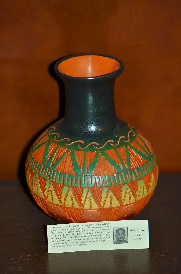 Navajo Hand Etched and Hand Painted Pottery by Marjorie Joe