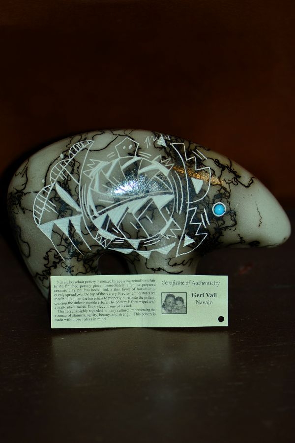 Navajo Horse Hair Bear Pottery with Turtle by Geri Vail