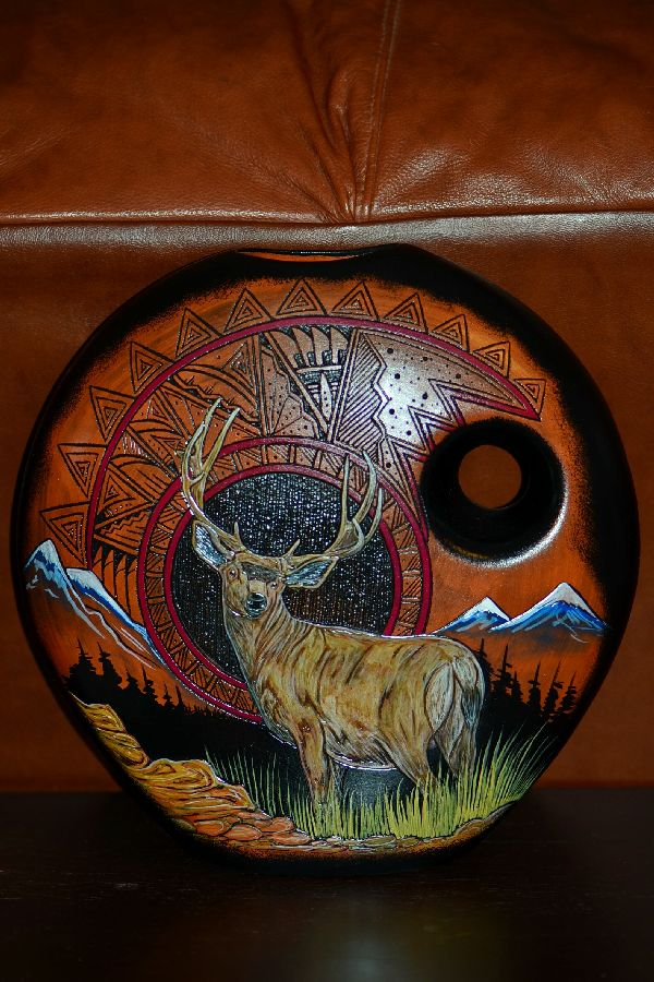 Navajo Hand Etched, Painted and Carved Elk Pottery Vase by Paul Lansing