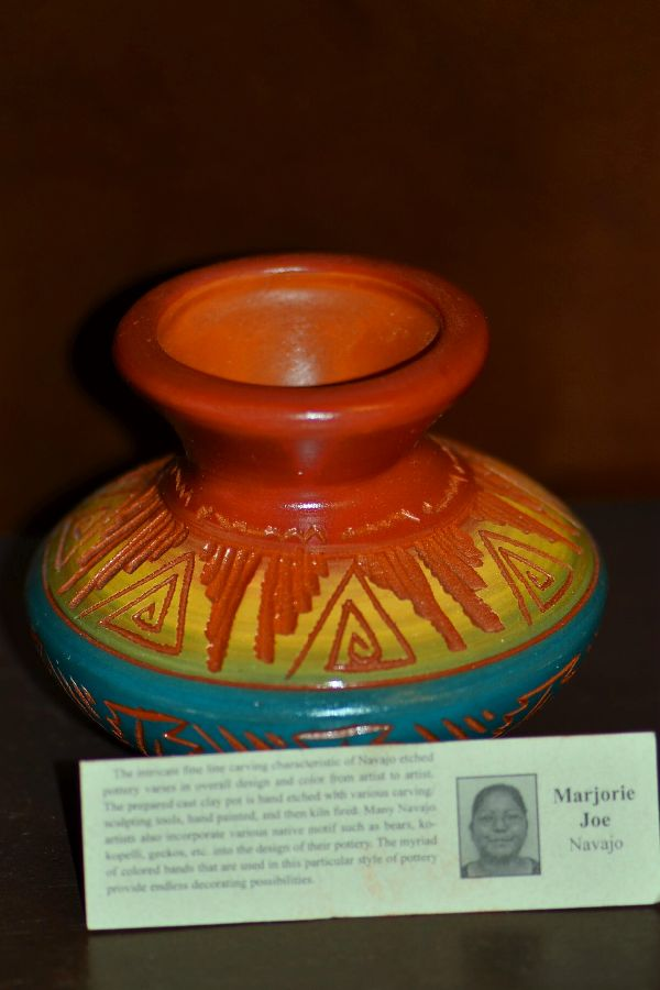 Navajo Etched Pottery Vase with Traditional Designs by Marjorie Joe