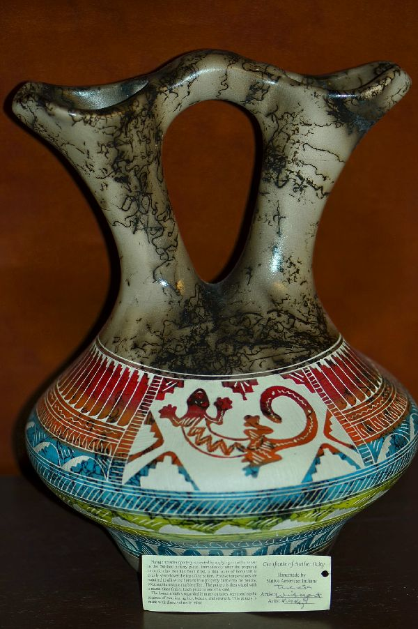 Navajo Large Hand Etched and Hand Painted Horse Hair Pottery Wedding Vase with Lizard by Theresa Whitegoat