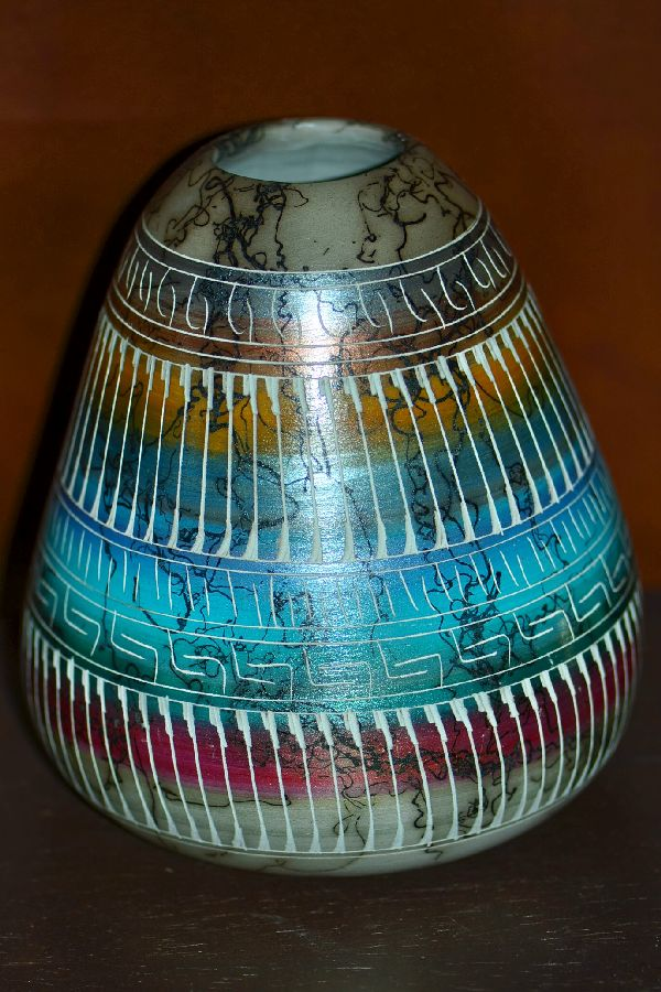 Navajo Horse Hair Etched Pottery Vase by Cheryl Willie