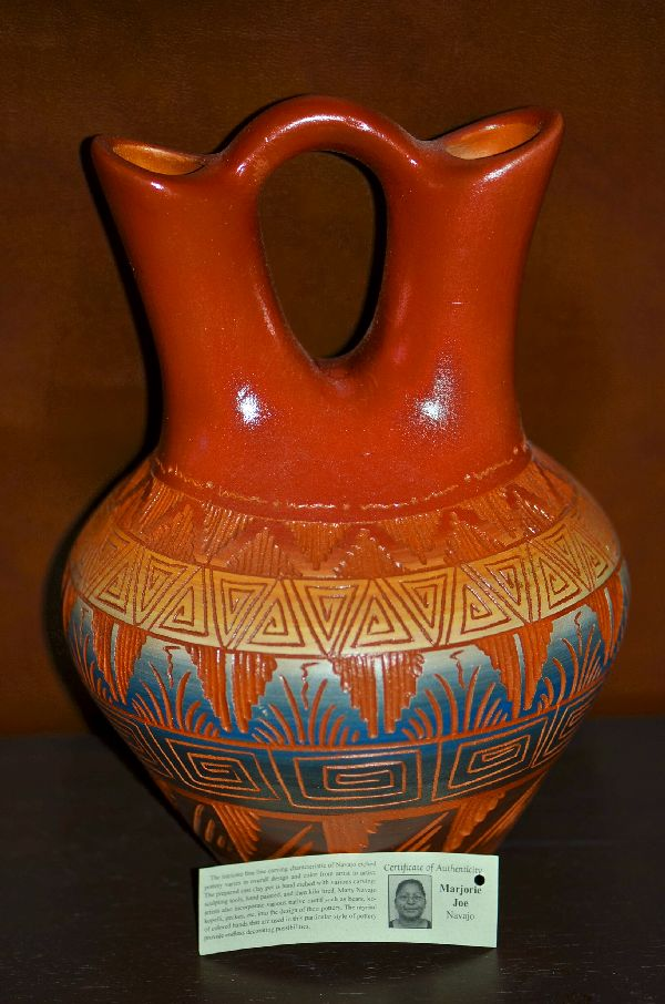 Navajo Etched and Hand Painted Wedding Vase Pottery by Marjorie Joe