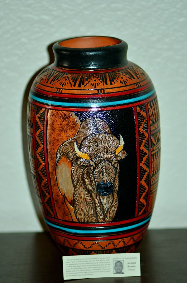 Navajo Buffalo Pottery Vase by Arnold Brown