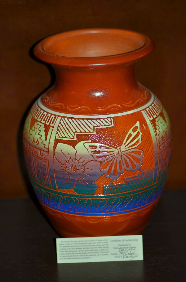 Navajo/Taos Pueblo Etched Pottery Vase with Butterfly by Desiree McCabe