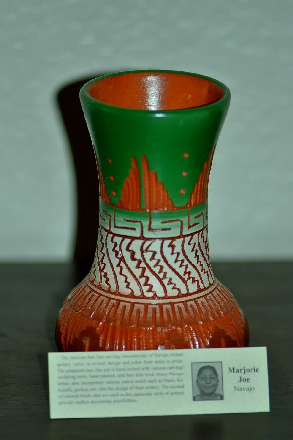 Navajo Hand Etched, Carved and Hand Painted Pottery by Marjorie Joe