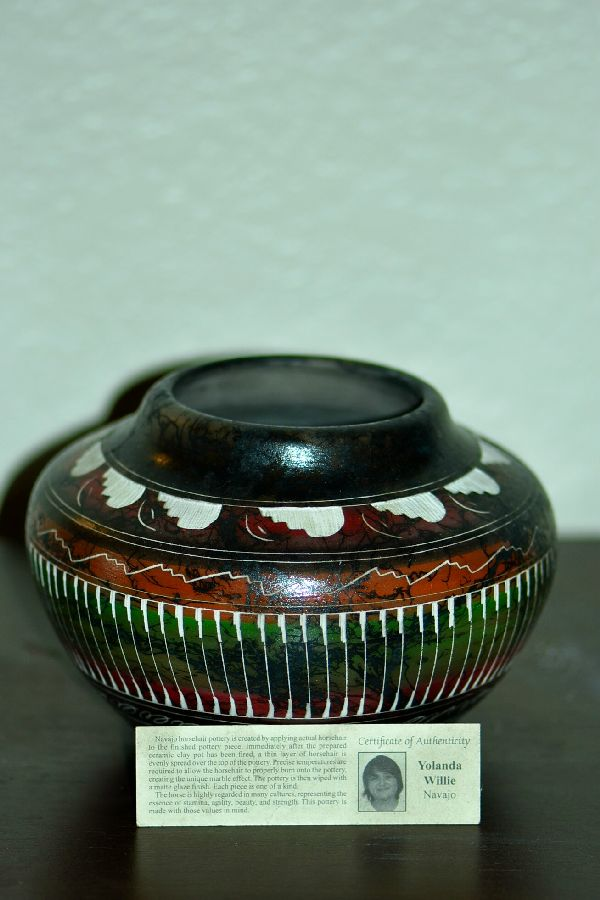 Navajo Etched Horse Hair Pottery Vase by Yolanda Willie
