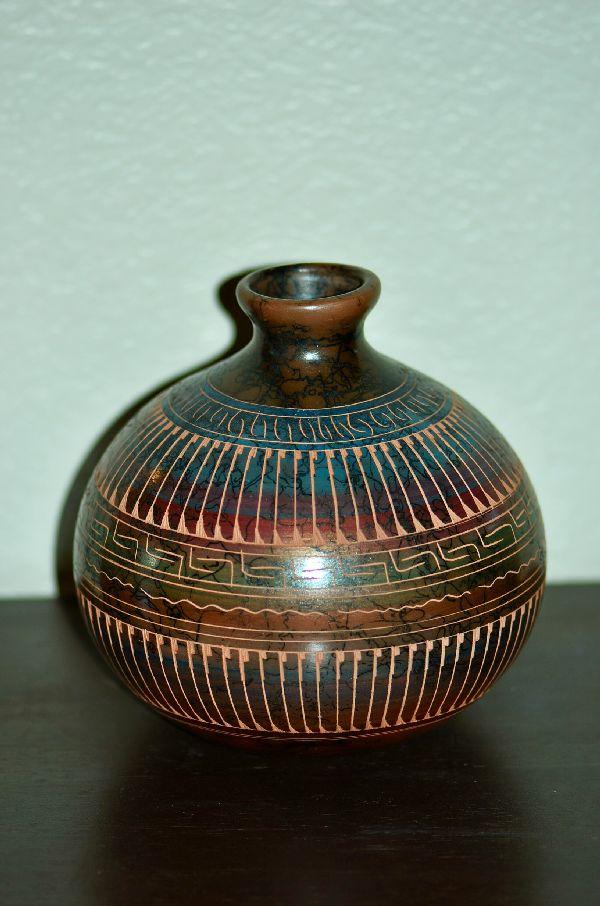 Navajo Horse Hair Etched Pottery Vase by Dina Willie