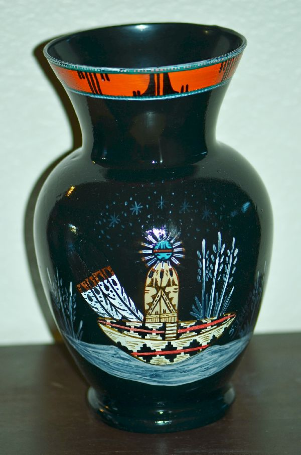 Navajo Hand Painted Vase with Sun Kachina, Wedding Basket and Pueblo by Steven Ignacio