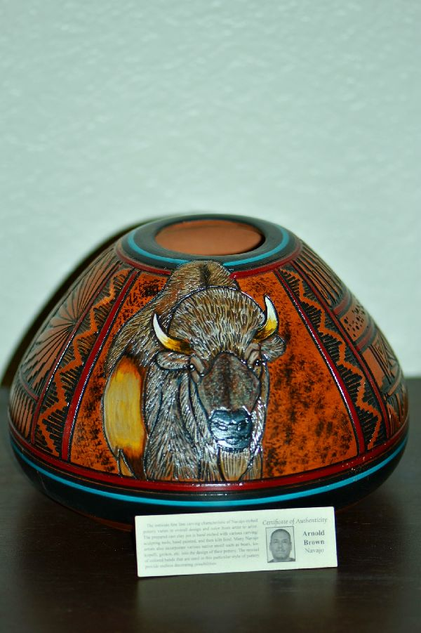 Navajo Hand Etched and Painted Buffalo Pottery Vase by Arnold Brown