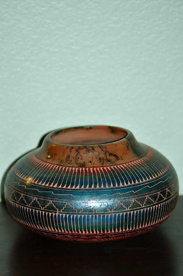 Navajo Hand Incised Horse Hair Pottery Vase by Samantha Willie