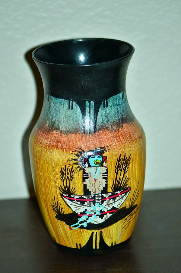 Navajo Hand Painted Vase with Eagle Kachina, Wedding Basket and Pueblo Medicine Man by Steven Ignacio