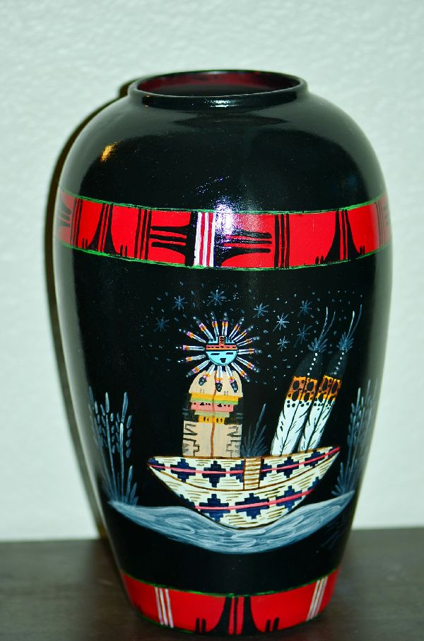 Navajo Exquisite Hand Painted Vase with Sun Kachina and Medicine Man by Steven Ignacio