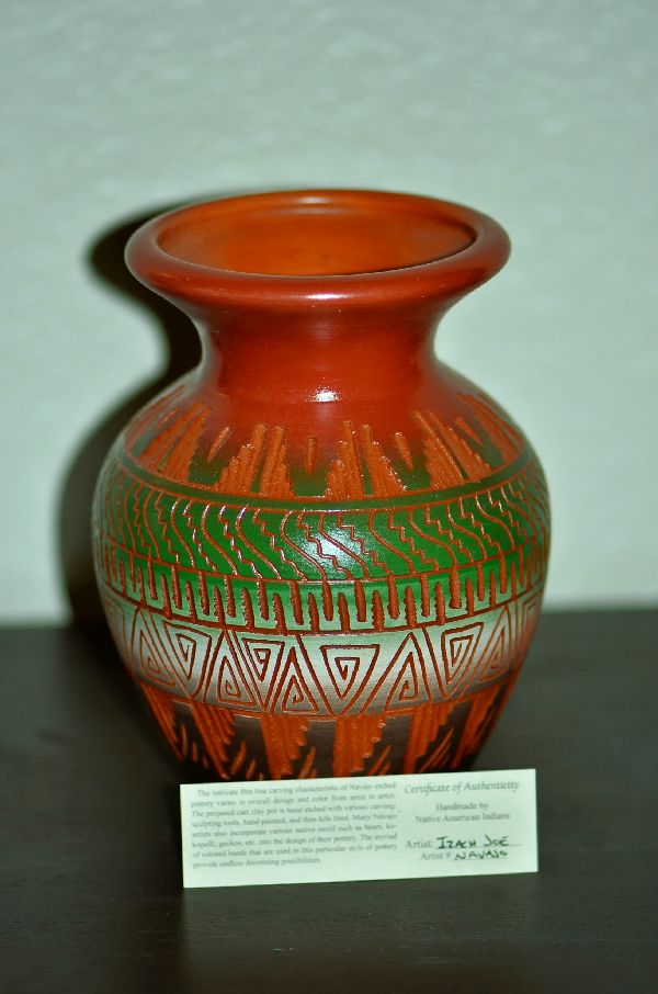 Izack Joe Navajo Etched Pottery Vase with Traditional Designs