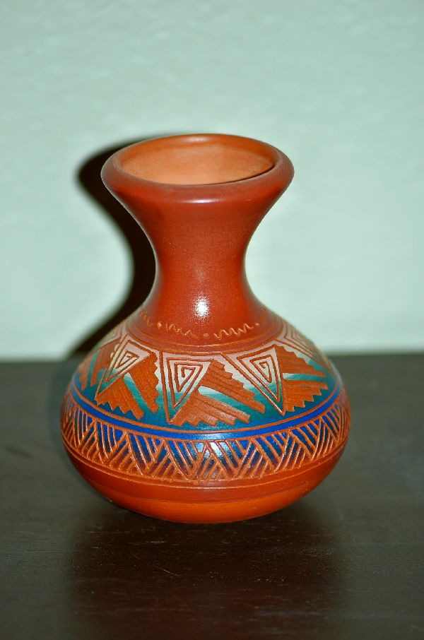 Navajo/Taos Carved Pottery Vase with Traditional Designs by Desiree McCabe