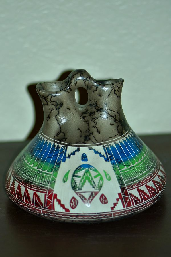 Navajo Wedding Vase with Turtle by Theresa Whitegoat