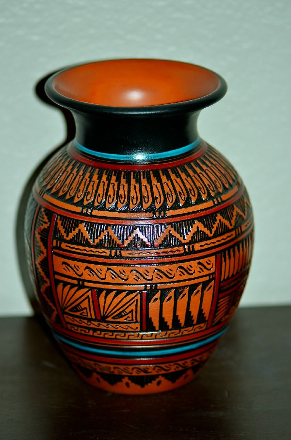 Navajo Hand Etched, Painted and Carved Bear Pottery Vase by Arnold Brown