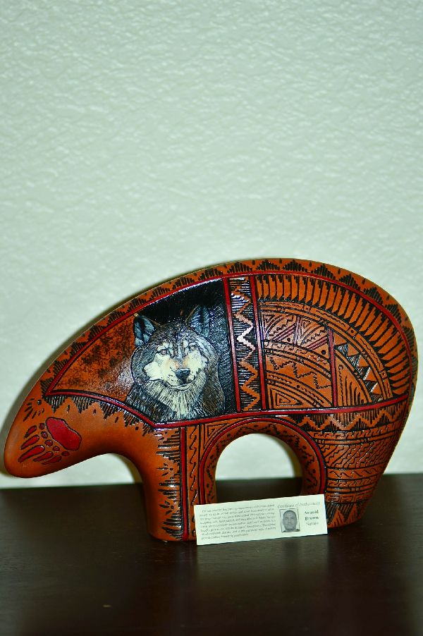 Navajo Exquisite Hand Etched, Painted Bear with Wolf Pottery by Arnold Brown
